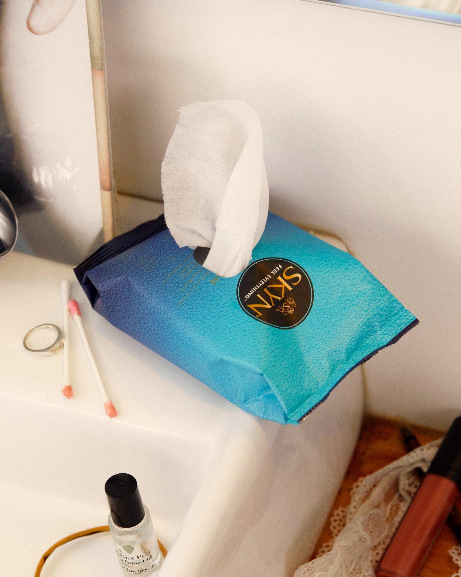 SKYN Get Fresh wipes over a bathroom sink