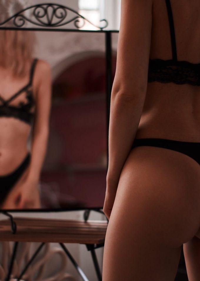 Woman reflection in her underwear